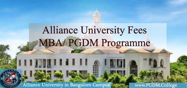 Alliance University Fees MBA PGDM Programme