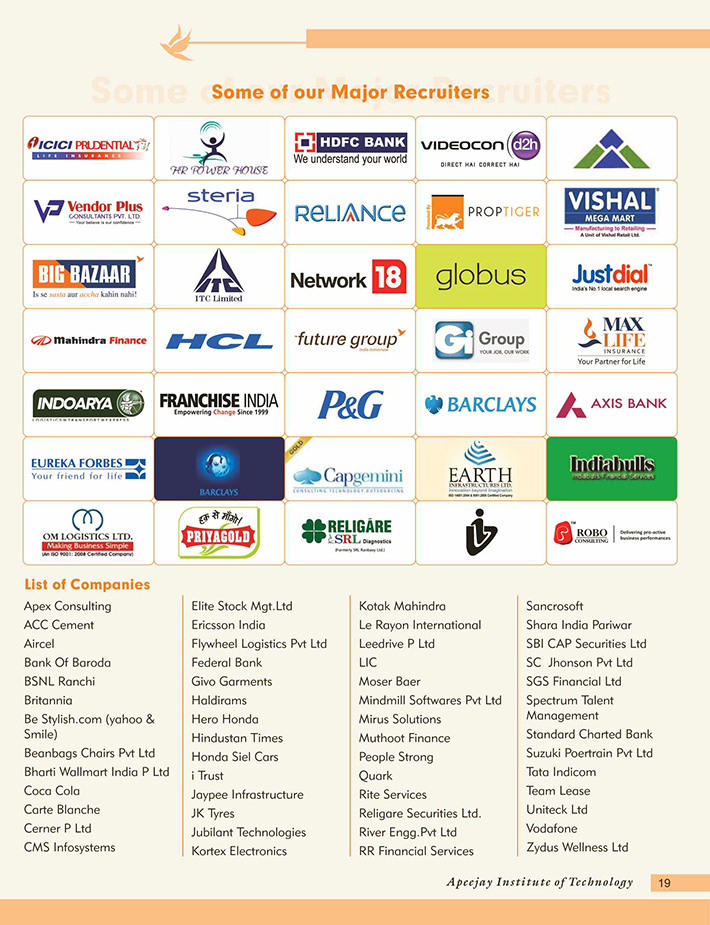 apeejay institute of technology school of management placement-logos